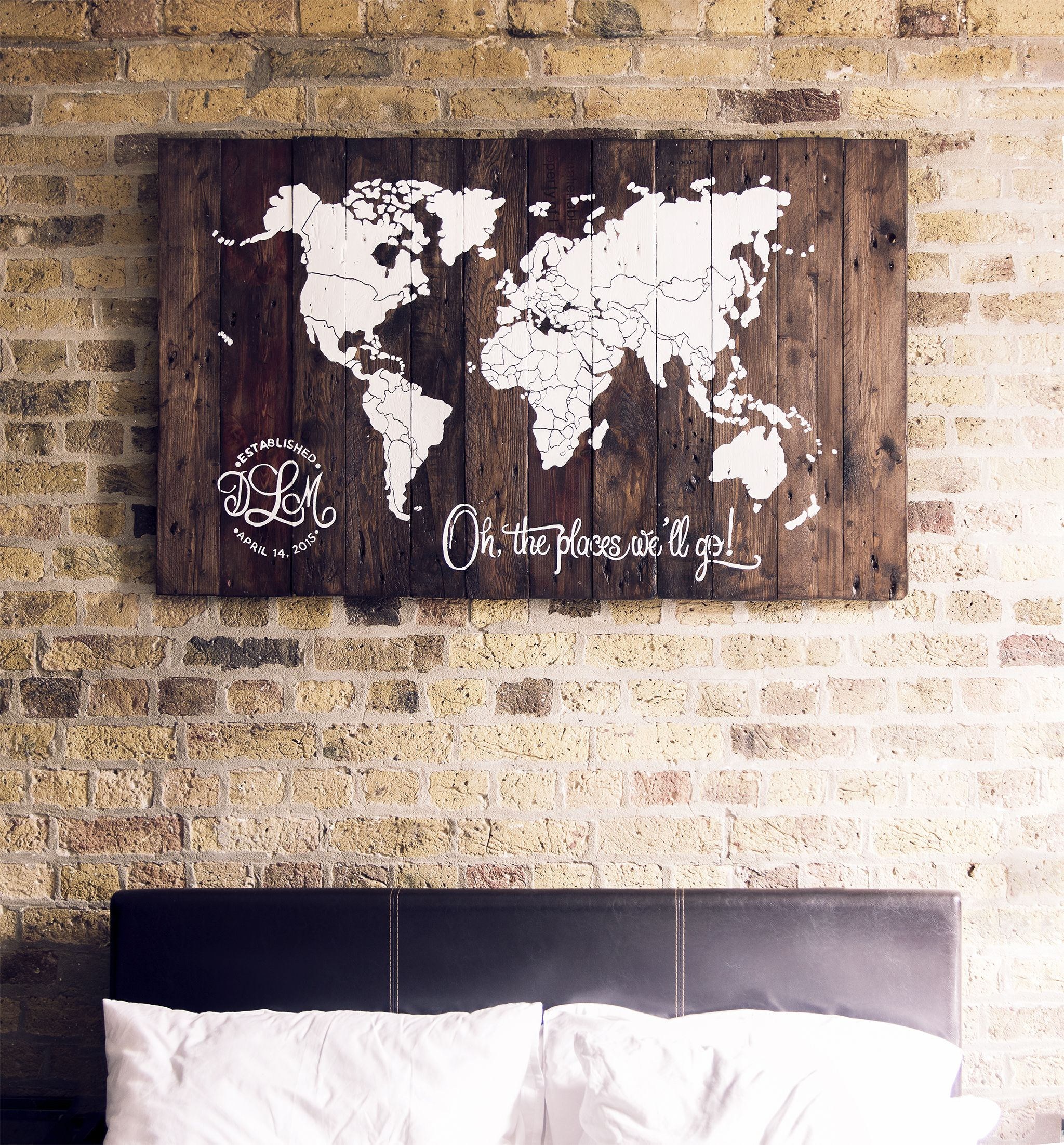 Wall Art World Map Reclaimed Pallet Wood Countries Outline