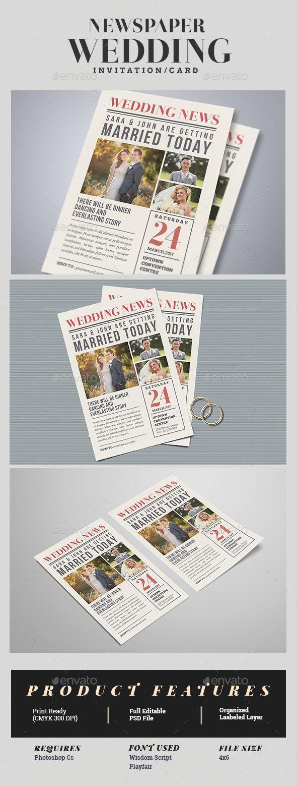 Newspaper Wedding Invitation Template PSD. Download here: https ...