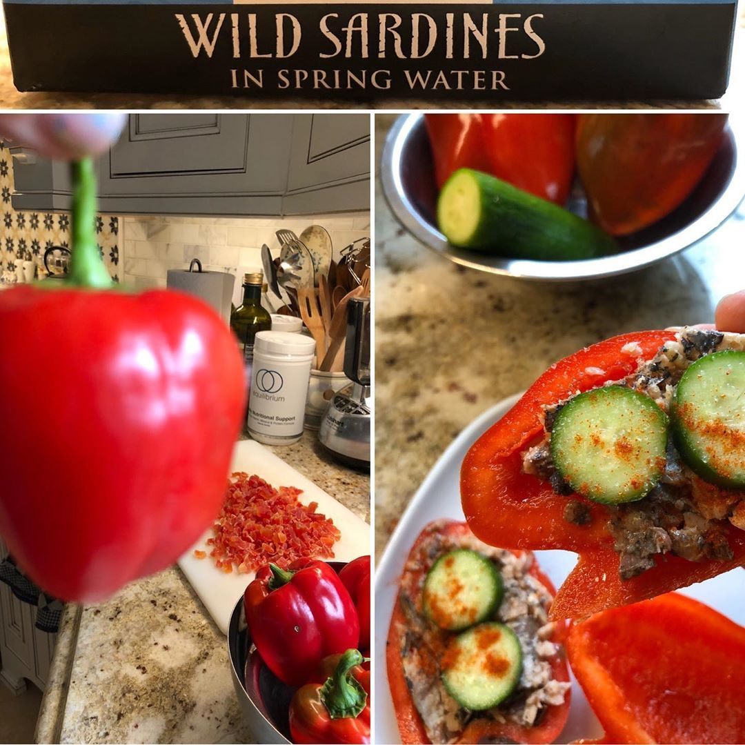 Red Peppers stuffed with Sardines topped with Cucumbers and a sprinkle of Paprika. Simple, quick and super fresh - within minutes of picking off the vine in my garden - ate my peppers for lunch. Sardines are SO good for us.