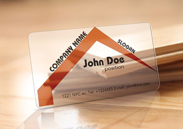Realistic showcase of translucent plastic business card template ...