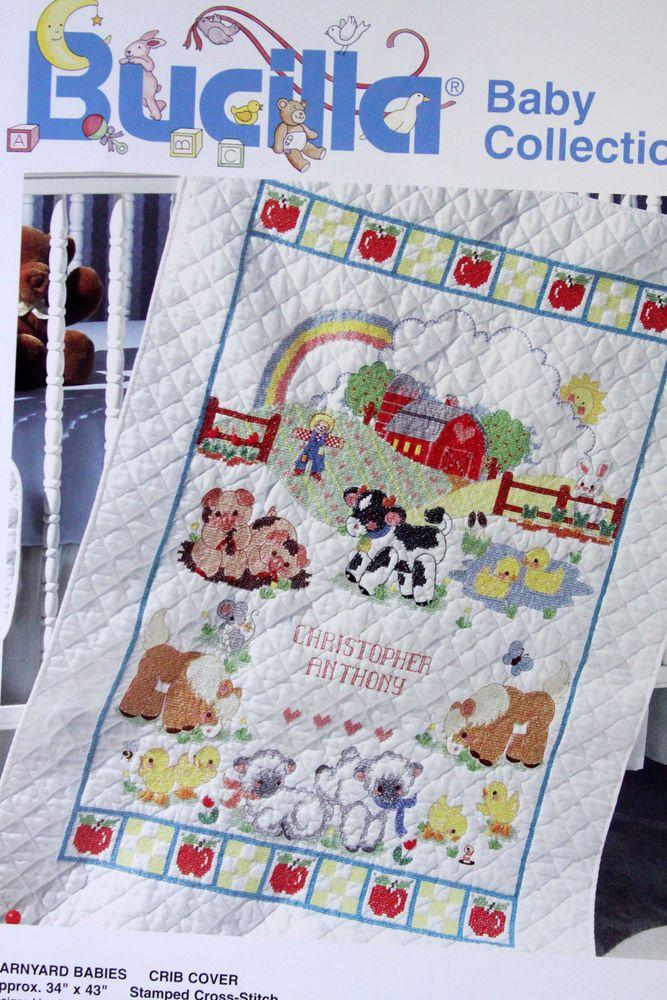 Bucilla Baby Crib Cover Stamped Cross Stitch Kit Barnyard Baby ... : bucilla cross stitch baby quilts - Adamdwight.com