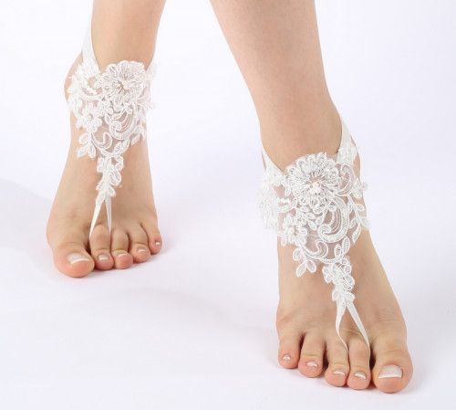 769c3125d6a İvory lace barefoot sandals Beach wedding barefoot sandals in 2019 ...