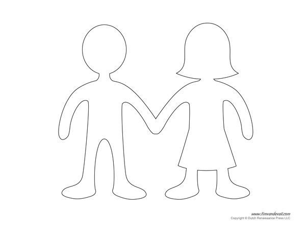 Blank Paper Doll Templates Education Paper doll template, Paper