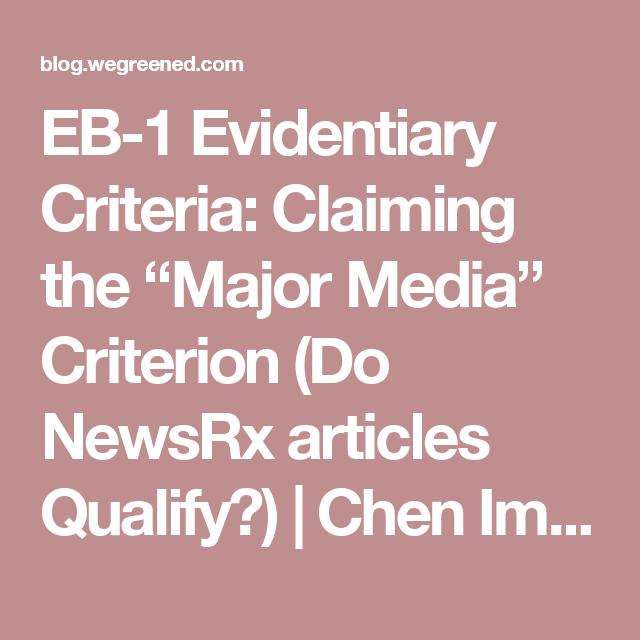 "EB-1 Evidentiary Criteria: Claiming the ""Major Media"
