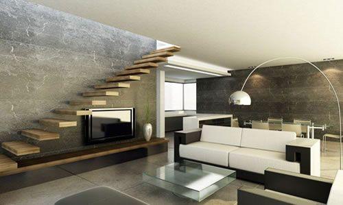 Zwevende trap plateau doortrekken voor opslag tv woonkamer in