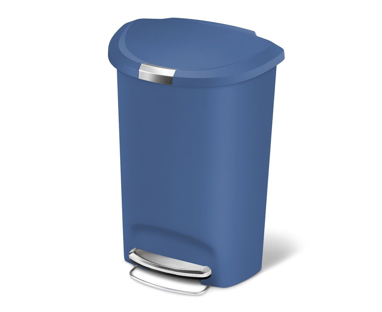 Simplehuman | 50L Semi Round Blue Plastic Step Trash Can. Kitchen ...