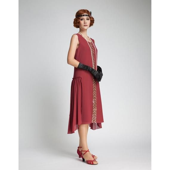 1920s dress in maroon with beaded trim Great Gatsby dress ...