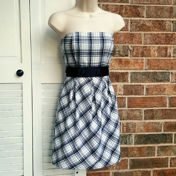 TARTAN | Peplum Dress Black & white, plaid/tartan, pleated, strapless dress. Fully lined & includes a high waist, black satin belt.  Made by: TEEZE ME (bought from Dillard's) Size: 3  Material: 97% Cotton / 3% Spandex  **Great, pre-owned condition!** Teeze me Dresses Strapless