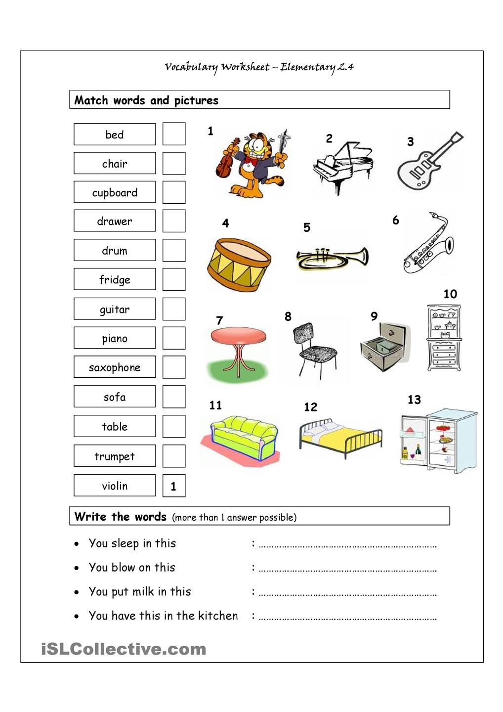 Worksheets Esl Vocabulary Worksheets vocabulary matching worksheet elementary 2 4 musical containing instruments house words it has two sections match and pictures exercise wr