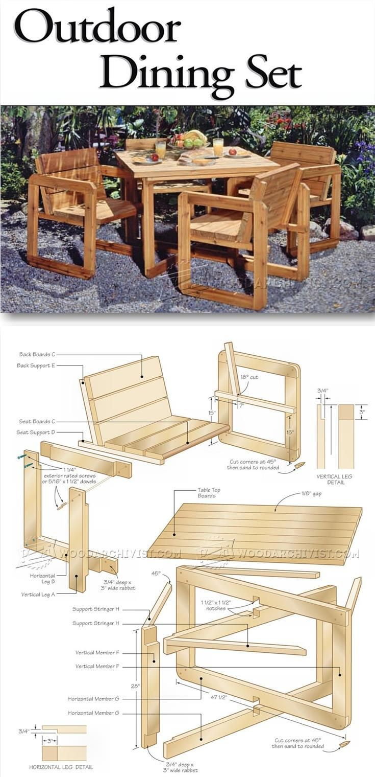 Outdoor furniture plans - Outdoor Table And Chair Plans Outdoor Furniture Plans Projects Woodarchivist Com
