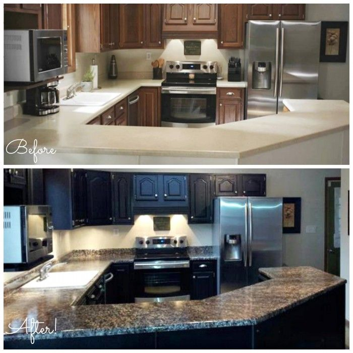 Before And After Photos Of A Countertop Transformed Using Giani