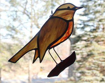 Gekleurd glas Raven Gebrandschilderd glas vogel door BerlinGlass