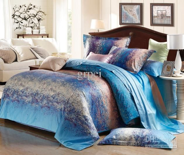 Blue grey stripe satin comforter bedding set king size queen