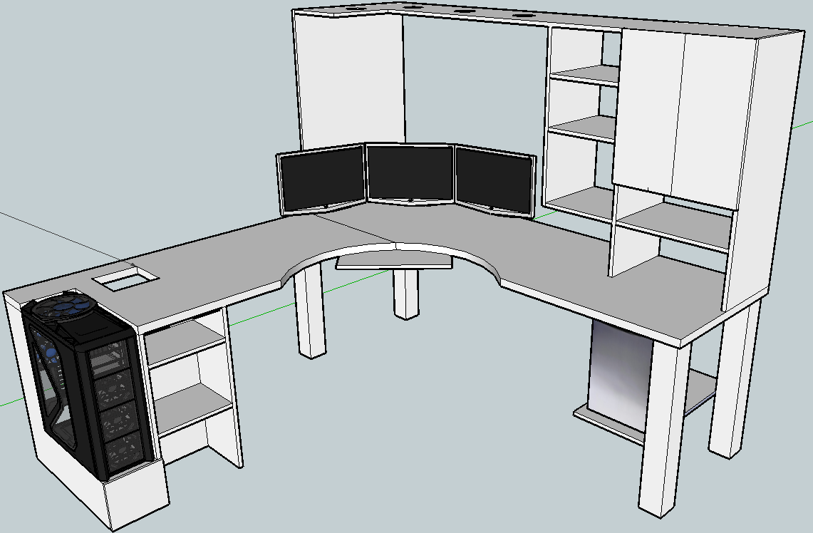 Blkfxx 39 s computer desk build home office pinterest for Office desk layout planner