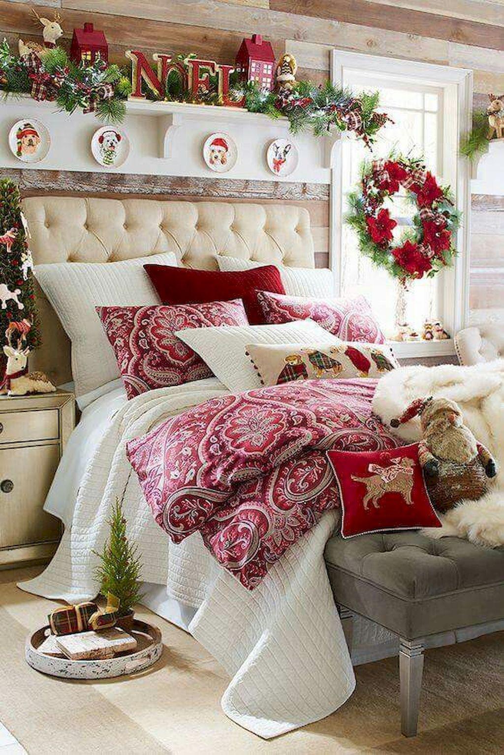 55 Cozy Cheerful Farmhouse Christmas Bedroom 55