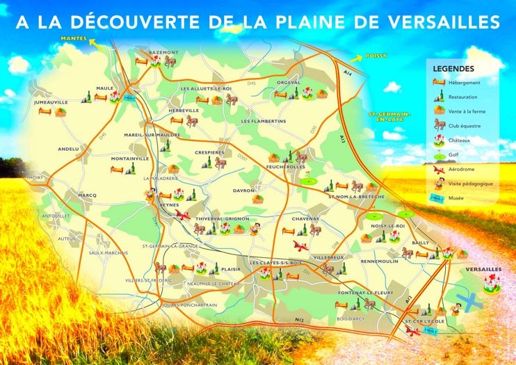 Versailles area tourist map Maps Pinterest Tourist map