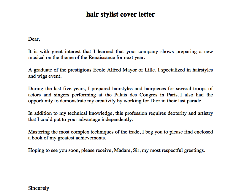 hair stylist cover letter examples