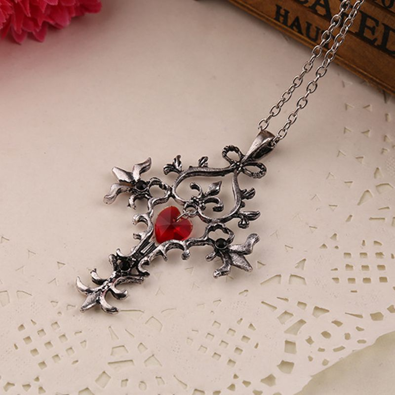 Vampire Diaries Sacred Heart Cross Reiki Necklace Choker Dolls Europe And America Retro Movie Peripheral  Colar Feminino Chakra