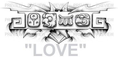 LOVE Mayan Glyphs Tattoo Design B » ₪ AZTEC TATTOOS ₪ Aztec Mayan Inca Tattoo Designs Instant Download