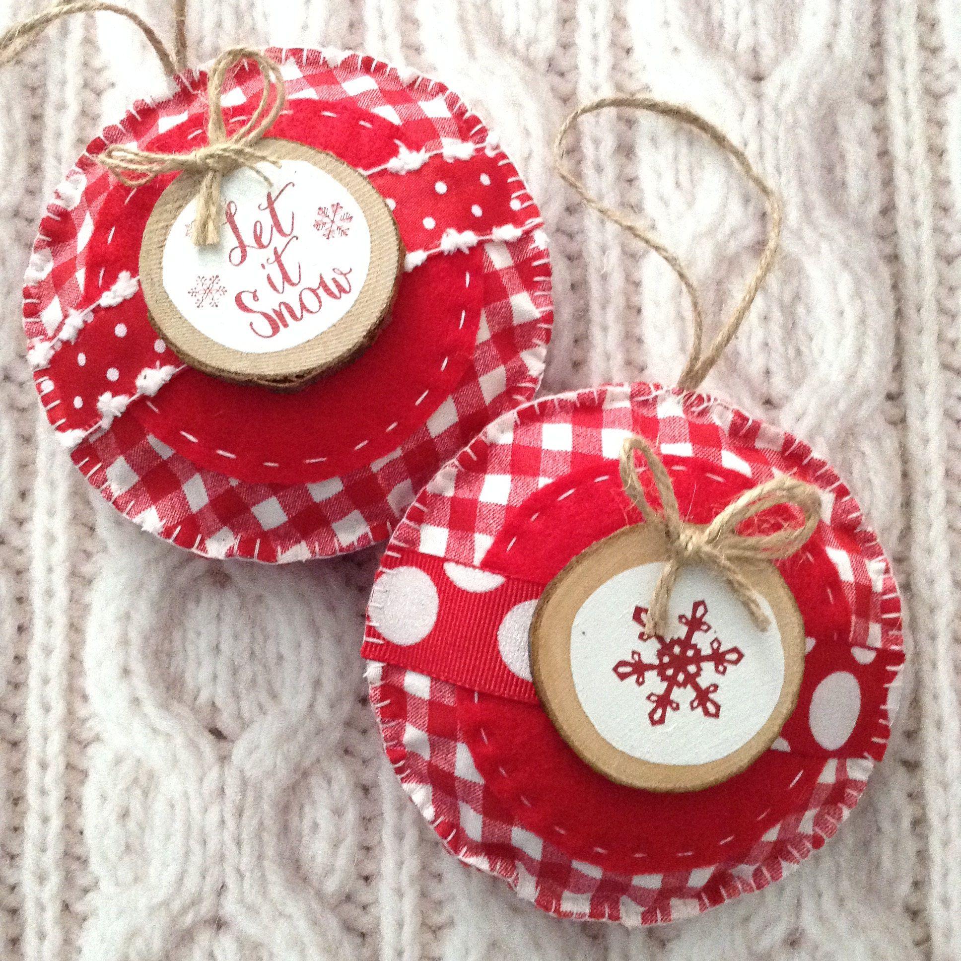 Christmas Felt - Fabric Ornaments / Xmas Tree Ornaments / Set of 2 ...