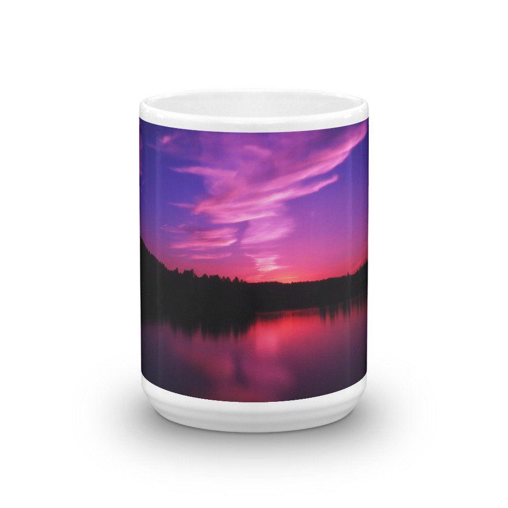 Mug, 15 Oz & 11 Oz Sizes, Montana Sunset, Foys Lake, Fine