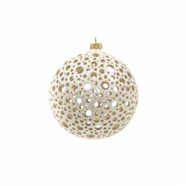 Ceramiche Liberati - Italian ceramic handmade Christmas ball, drilled by hand - Made in Italy