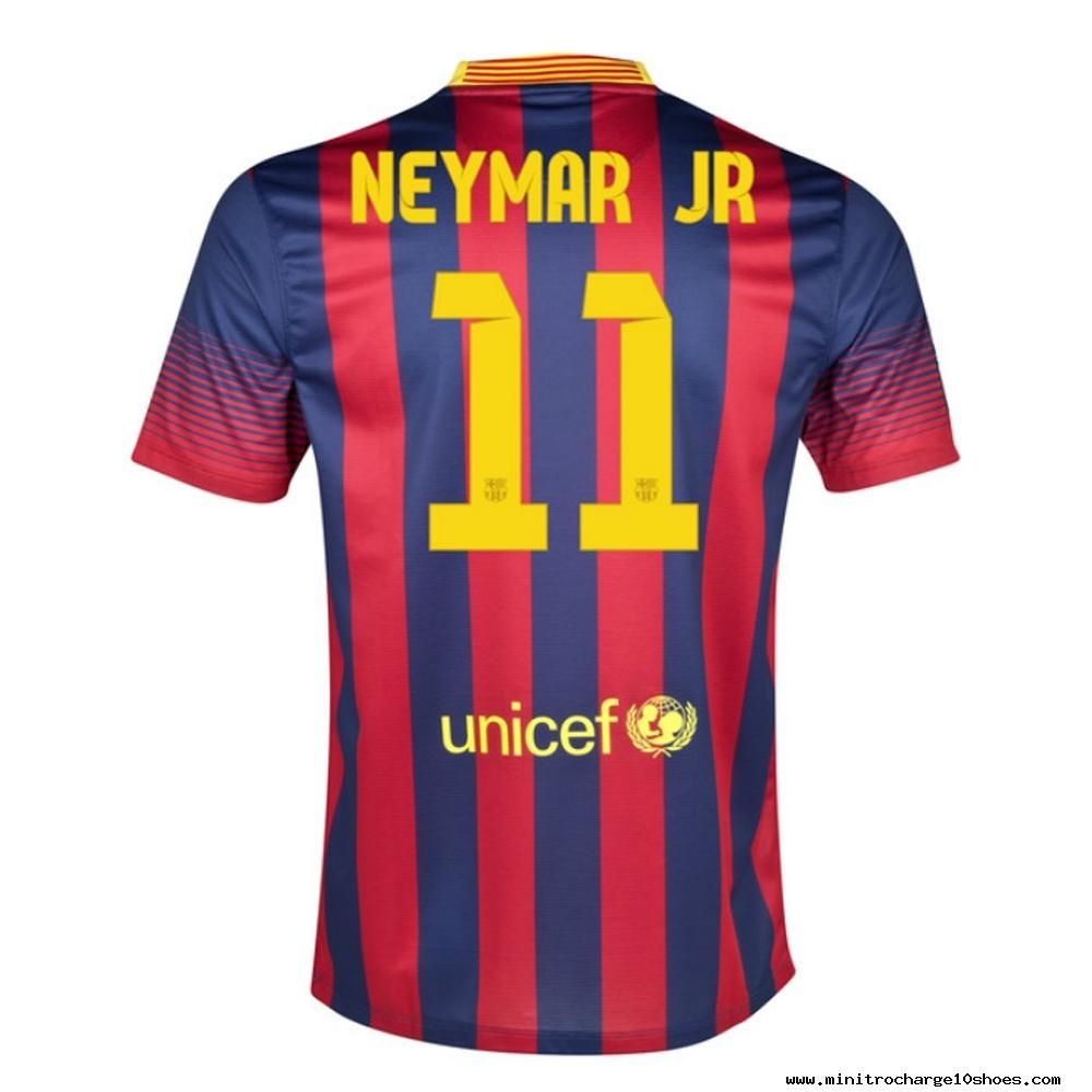 Nike FC Barcelona NEYMAR JR 11 2013-2014 Home Soccer Jersey Midnight  Navy Storm Red Tour Yellow 9f26757aecc10