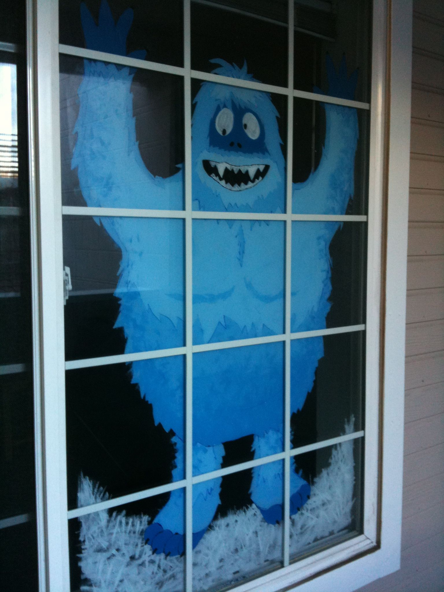 Abominable Snowman Bumble On The Downstairs Window Of My Old Apartmen Office Christmas Decorations Christmas Window Decorations Christmas Crafts Decorations
