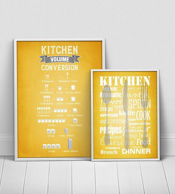 Mustard Yellow Kitchen Decor: Mustard Yellow Kitchen Posters Set, Yellow Gray Kitchen