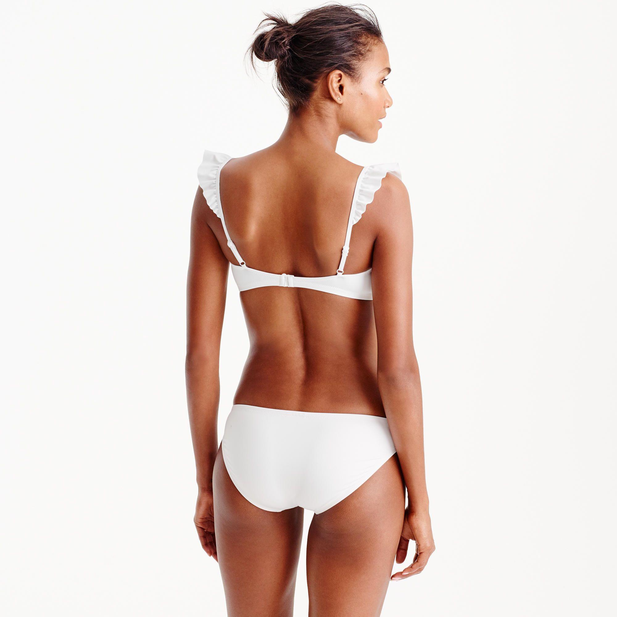 Ruffle bikini top in Italian matte