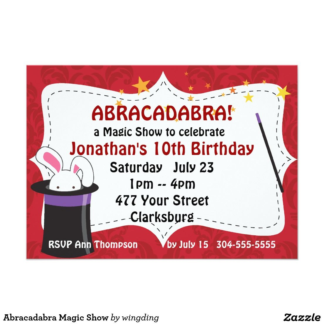 Abracadabra Magic Show Card | Magic Invitations | Pinterest | Zazzle ...