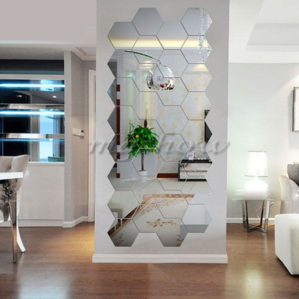 12pcs 3d Silver Mirror Geometric Hexagon Acrylic Wall Sticker Decor Art Diy Home Wall Stickers