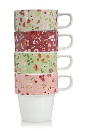 Set Of 4 Pack Ditsy Stacking Mugs