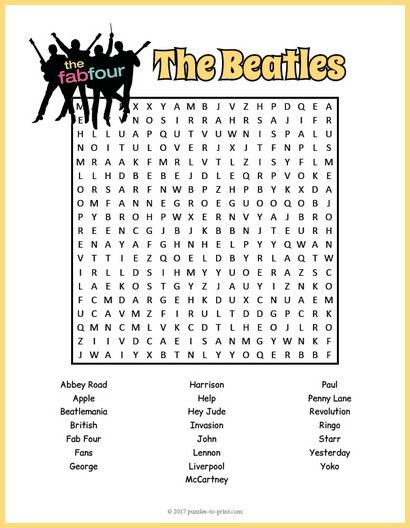 Free Printable Beatles Word Search | Free Puzzles | Pinterest
