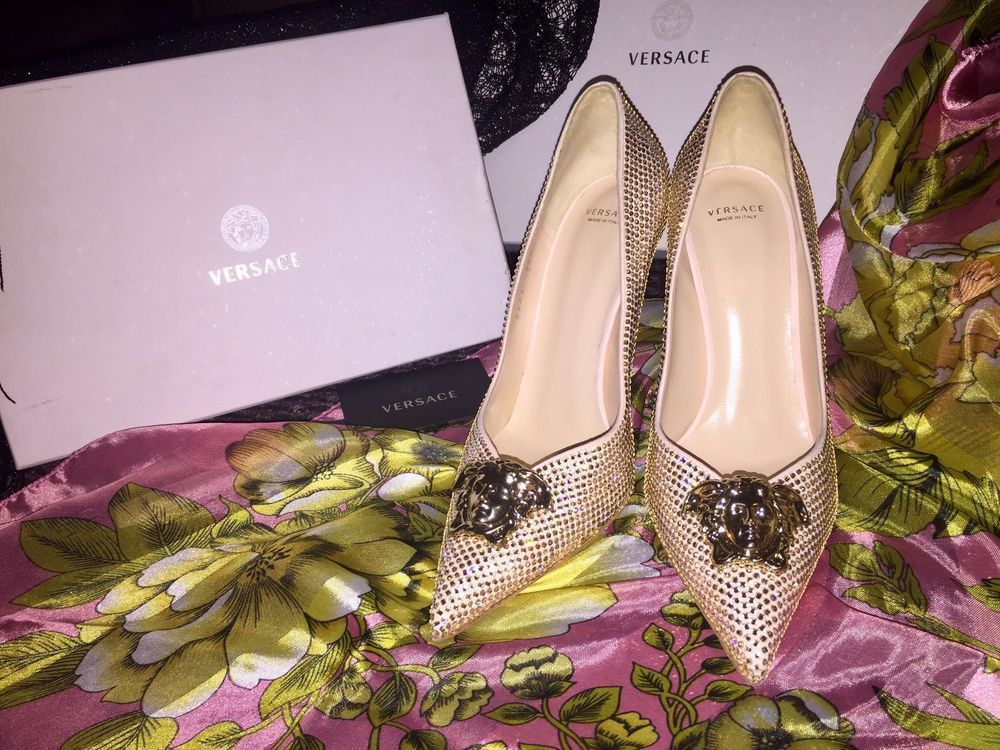 259e34ca058  1100 New versace palazzo platinum swarovski crystal pump US size 8.5   Versace  PumpsClassics  SpecialOccasion