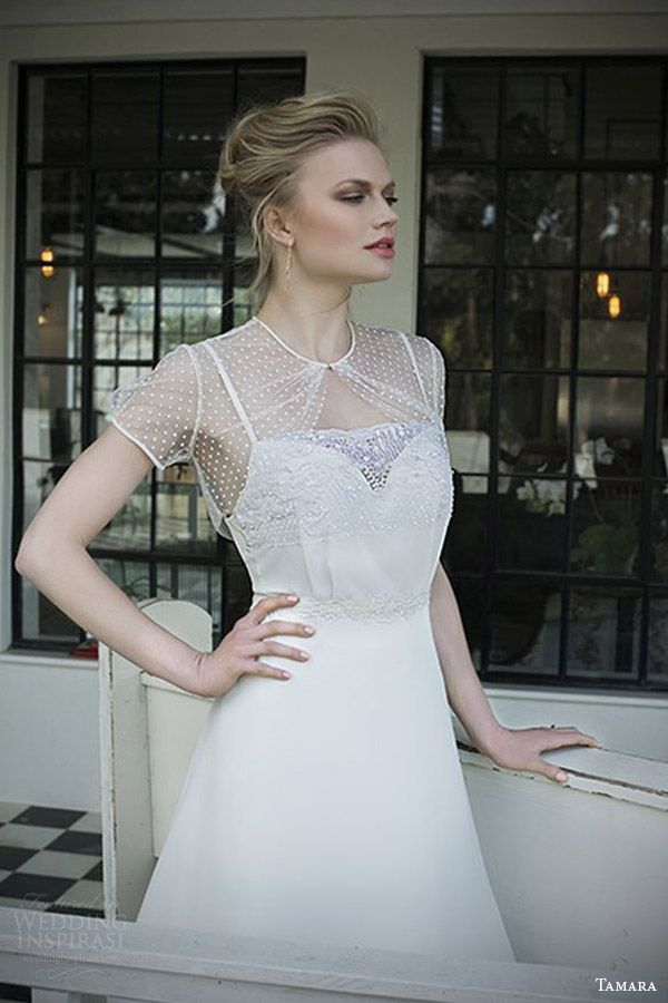 Tamara Bridal 2014 2015 Olivia Wedding Dress Illusion Short Sleeve Dotted Tulle Topper
