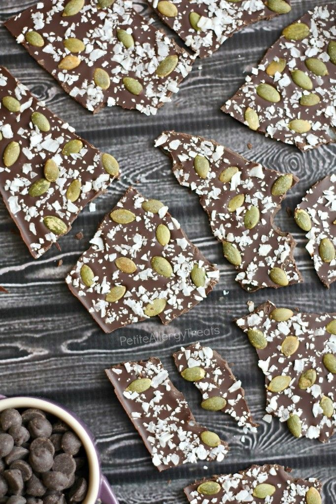 Chocolate Coconut Bark- easy no bake treat perfect for holidays with coconut and crunchy pumpkin seeds- PetiteAllergyTreats