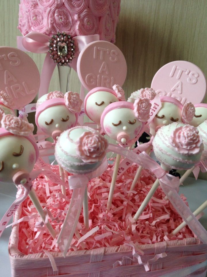 Baby girl cake pops and cake baby shower cupcakes for