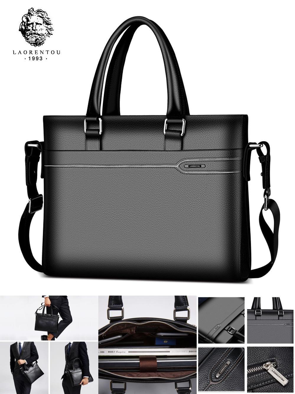 d9962947db  Visit to Buy  Laorentou Business Briefcase Men Genuine Leather Handbag  Work Shoulder Messenger Bags