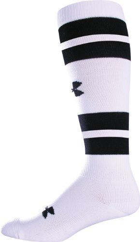 8f7708f1530 Men s Double Stripe Soccer Socks Socks by Under Armour Medium White by Under  Armour.  15.98. Signature Moisture Transport System wicks sweat away from  your ...