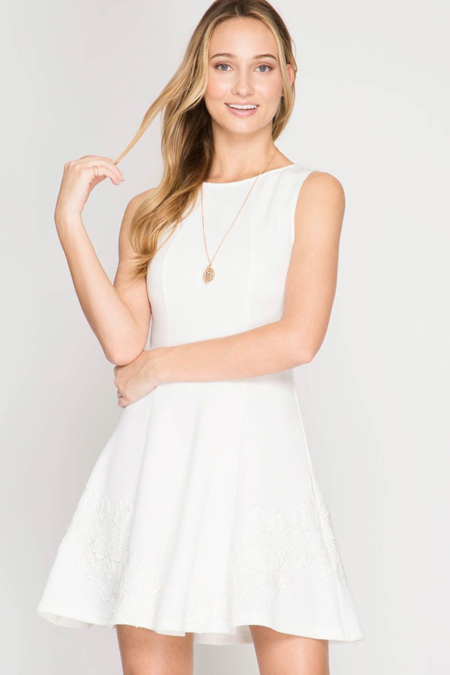 Sleeveless Textured Fit and Flare Dress