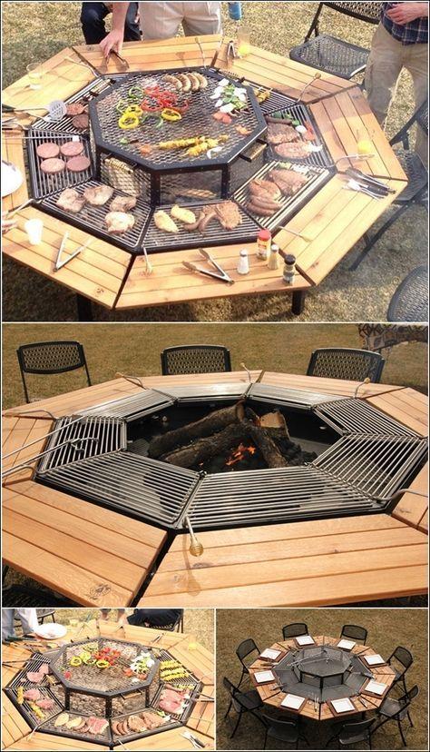 Table de jardin barbecue.... chacun fait griller sa viande ...