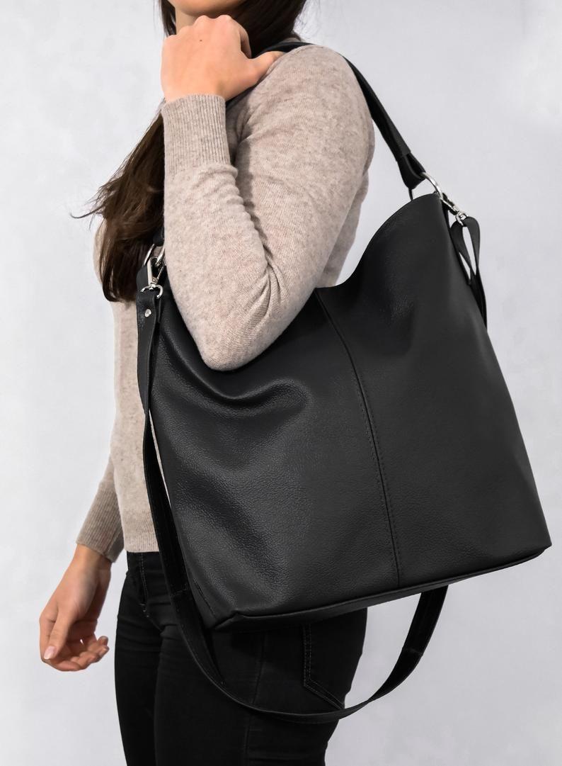 Leather HOBO Bag Black Leather Handbag Crossbody Bag Everyday Tote Bag Laptop Leather Sho Leather HOBO Bag Black Leather Handbag Crossbody Bag Everyday Tote Bag Laptop Le...