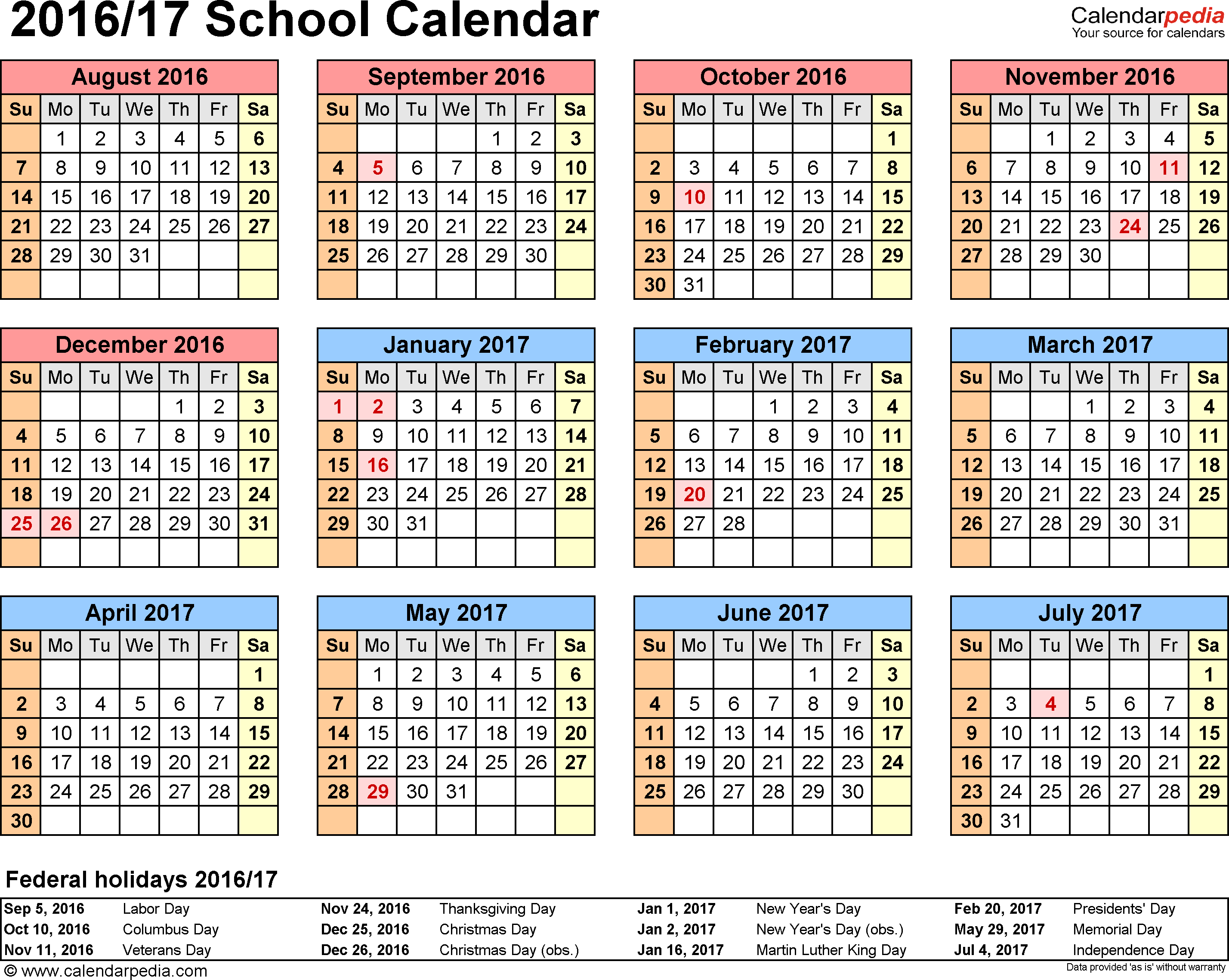 Template Academic Calendar For Excel, Landscape Orientation, Year At A  Glance, 1 Page