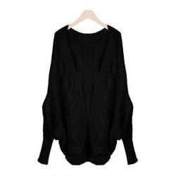 $11.45 New Style Plus Size Dolman Sleeves Openwork Design Solid Color Artificial Fibre Cardigan For Women