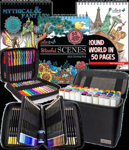 Colorit Total Package 6 Coloring Books Colored Pencil Set Gel Pens Set Coloring Books