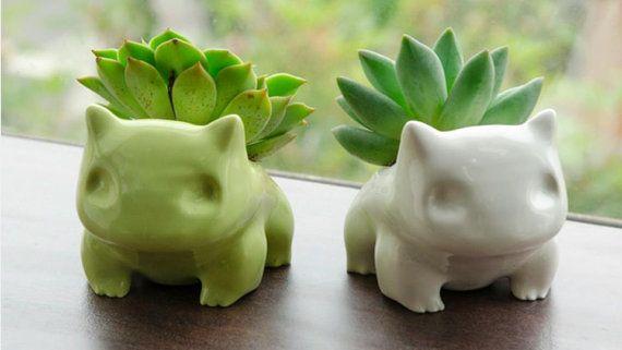 Plateasaur de cerámica Planter / Flor - 2 tamaños disponibles