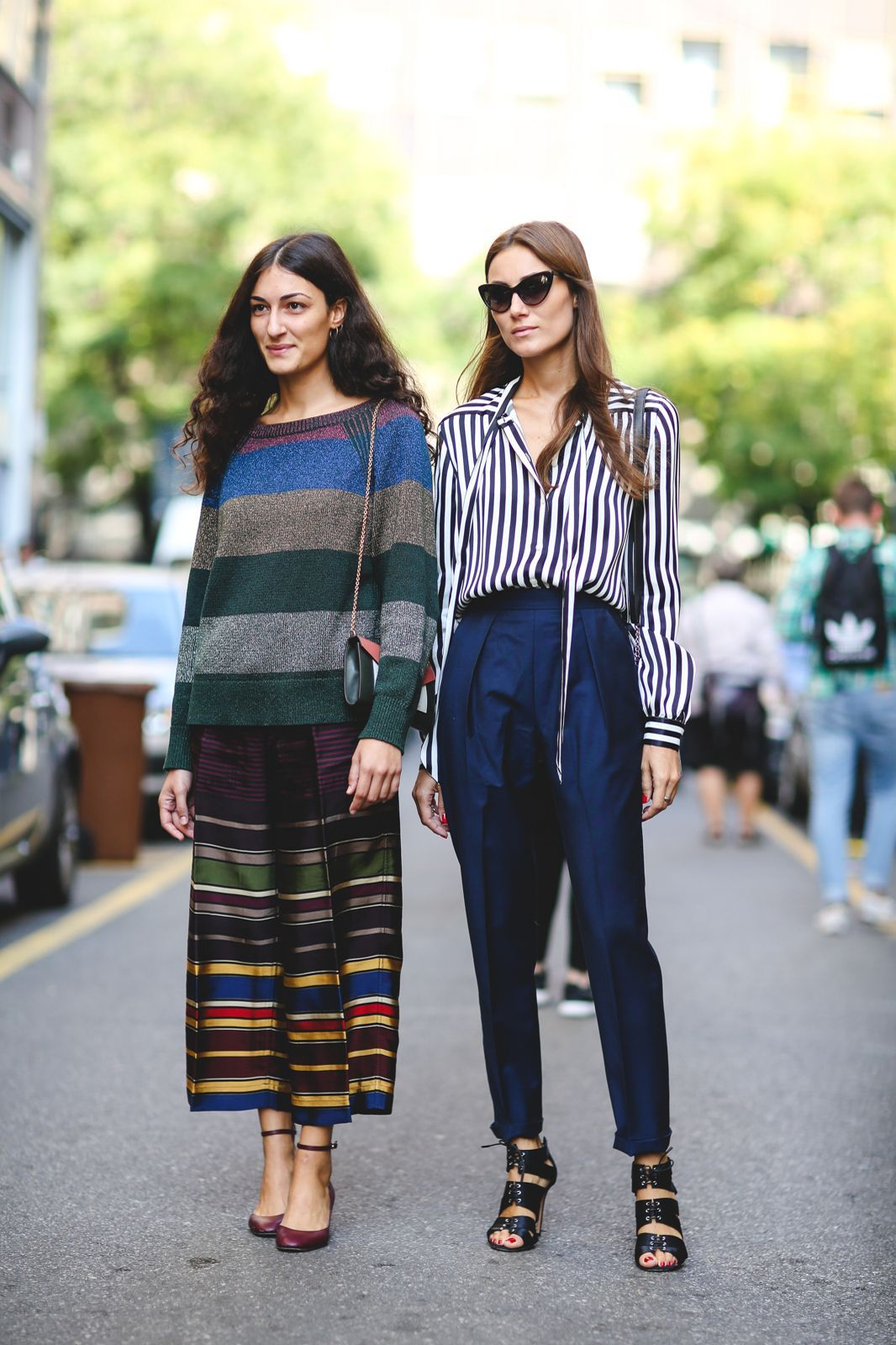 60 Head-To-Toe-Amazing Street Style Snaps From Milan Fashion Week #refinery29  http://www.refinery29.com/2015/09/94857/milan-fashion-week-spring-2016-street-style-pictures#slide-19  Stripes in every direction....