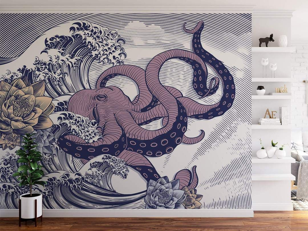 Japanese Octopus With Waves Removable Wallpaper Easy Do It Yourself Wall Fabric Choose For Peel And Stick Japanese Wall Art Graffiti Wall Art Waves Wallpaper