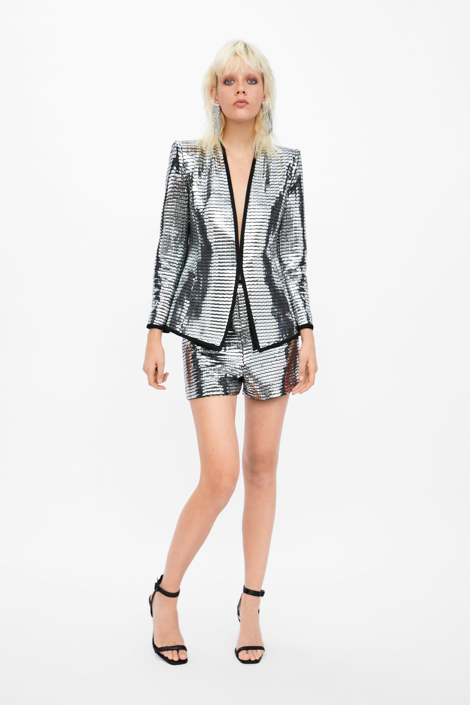 13402177 Shiny blazer in 2019   fshn & styl   Blazer, Sequin dress, Zara women